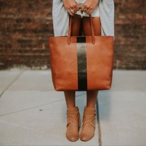 Madewell Paint Stripe Transport Leather Tote Bag